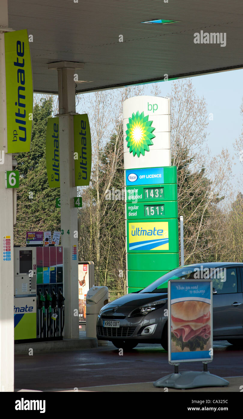 Regular diesel fuel selling at 151.9p per litre on a BP forecourt on London Road Northampton UK earlier today - Stock Image