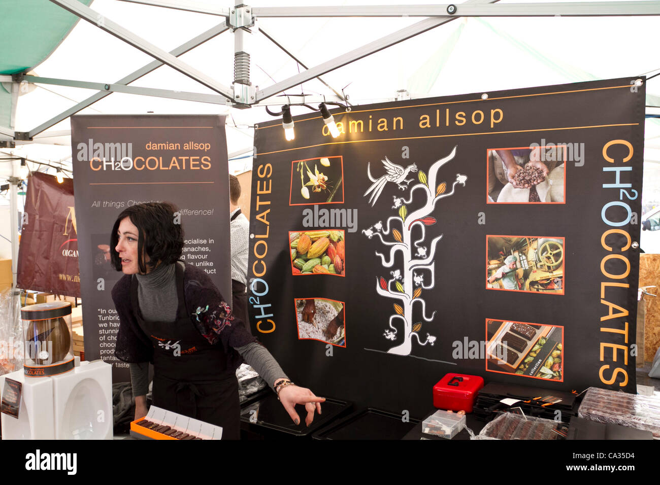 London, UK, 30032012. 'Damian Allsop ch2occolates' stall at the Chocolate Festival, Southbank Centre Square, - Stock Image