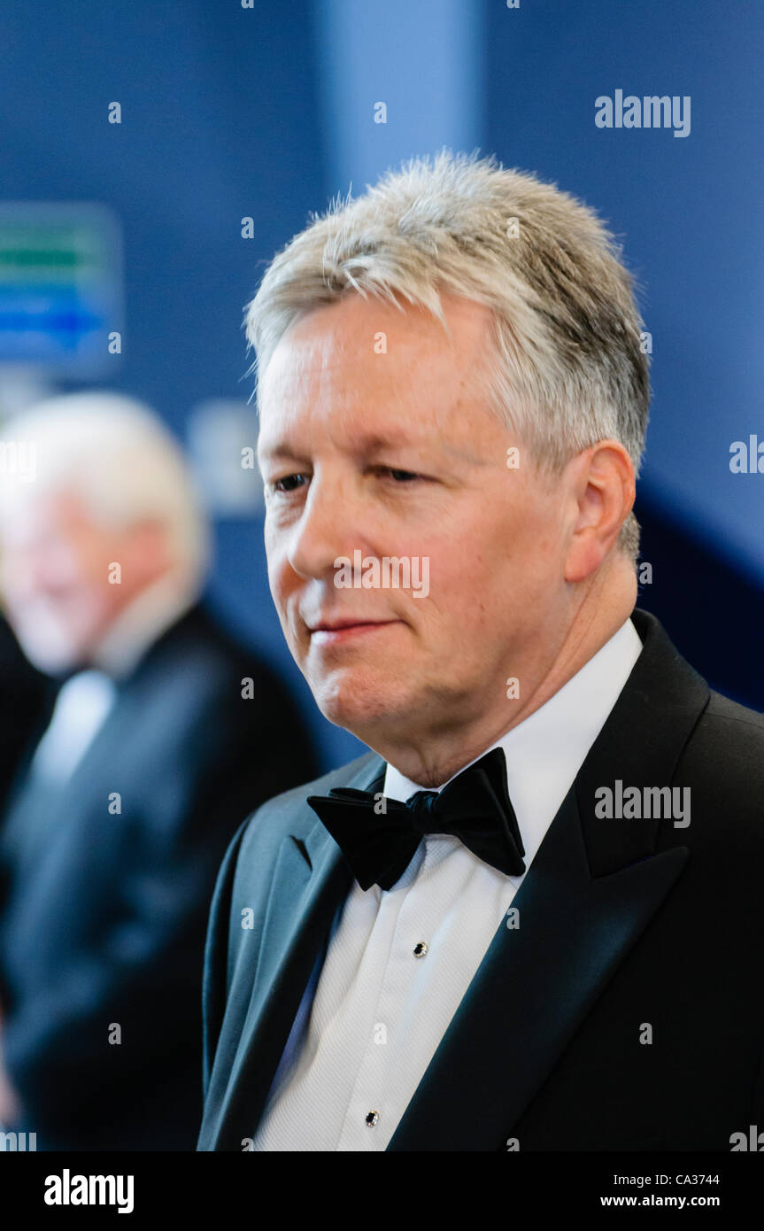 Belfast, UK. 30/03/2012 - Peter Robinson at the Belfast's  £97M Titanic Visitors Centre as it holds a pre - Stock Image