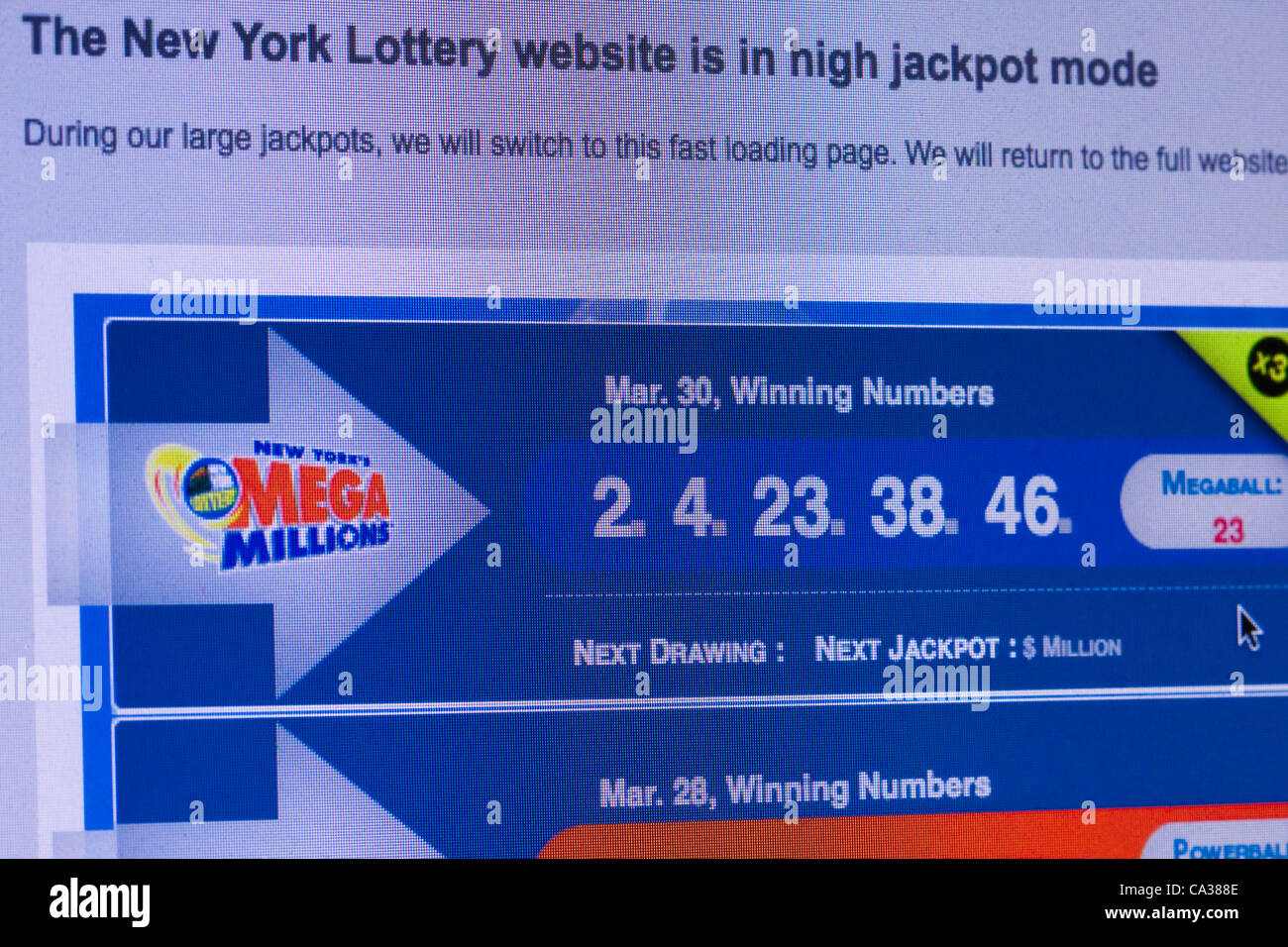 Mega Millions Winning Lottery Numbers For March 30 2012 The 640 Stock Photo Alamy