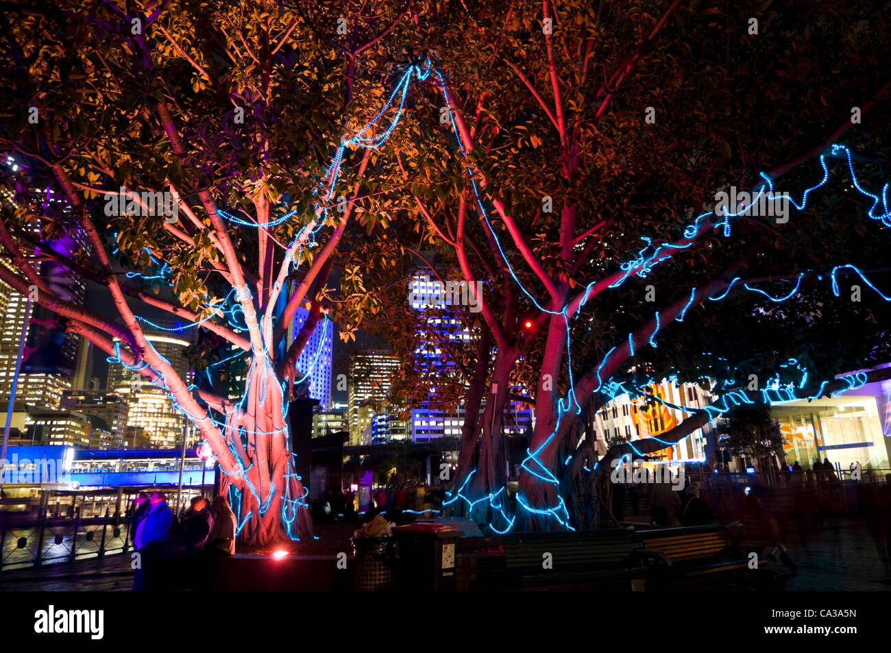 Sydney, Australia, Wednesday May 30, 2012. Vivid Sydney Festival transforms the city into an explosion of light - Stock Image