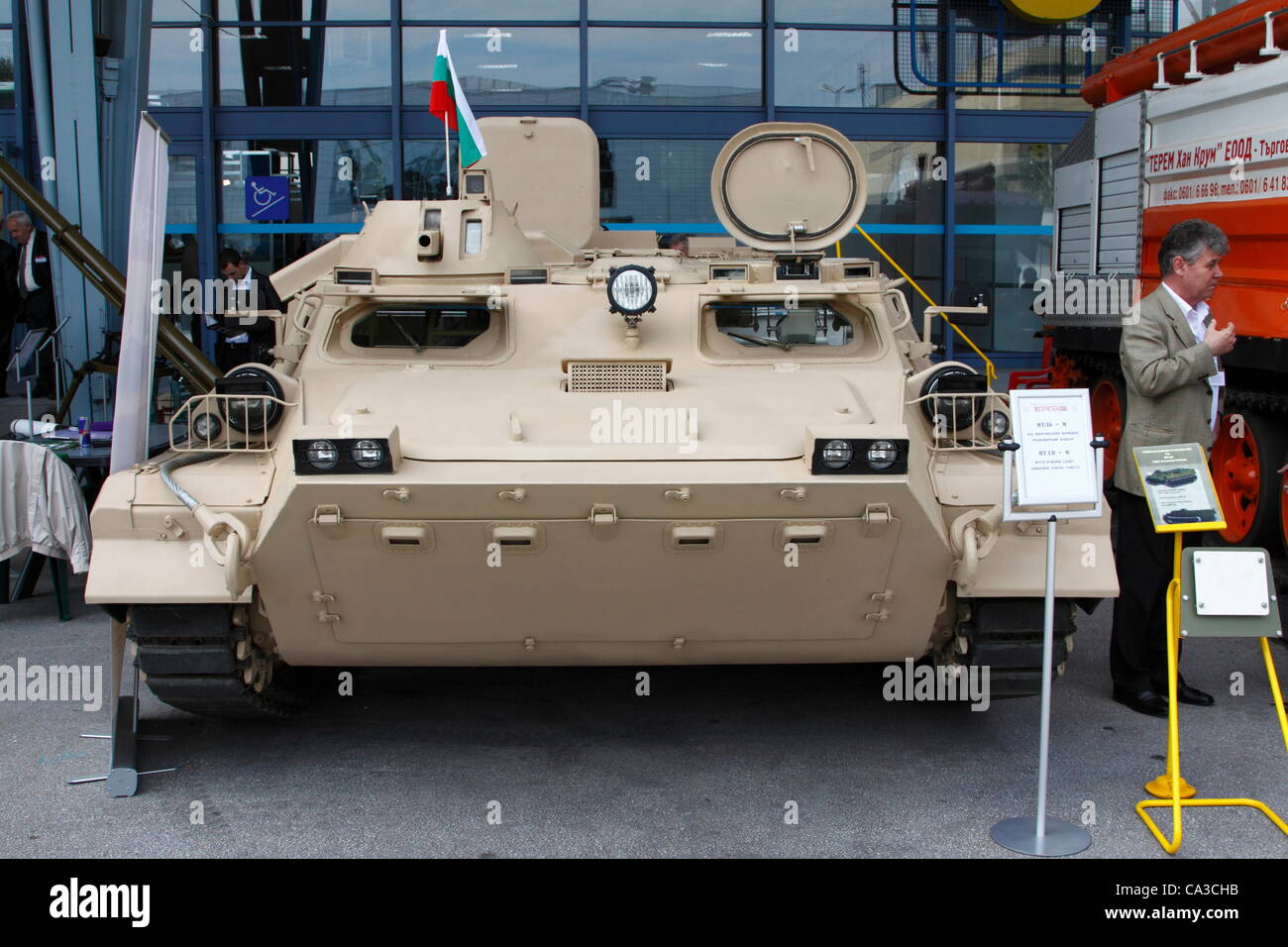Armored personnel carrier MT-LB-M. The vehicle was originally designed in the Soviet Union in the 1960s, an improved - Stock Image