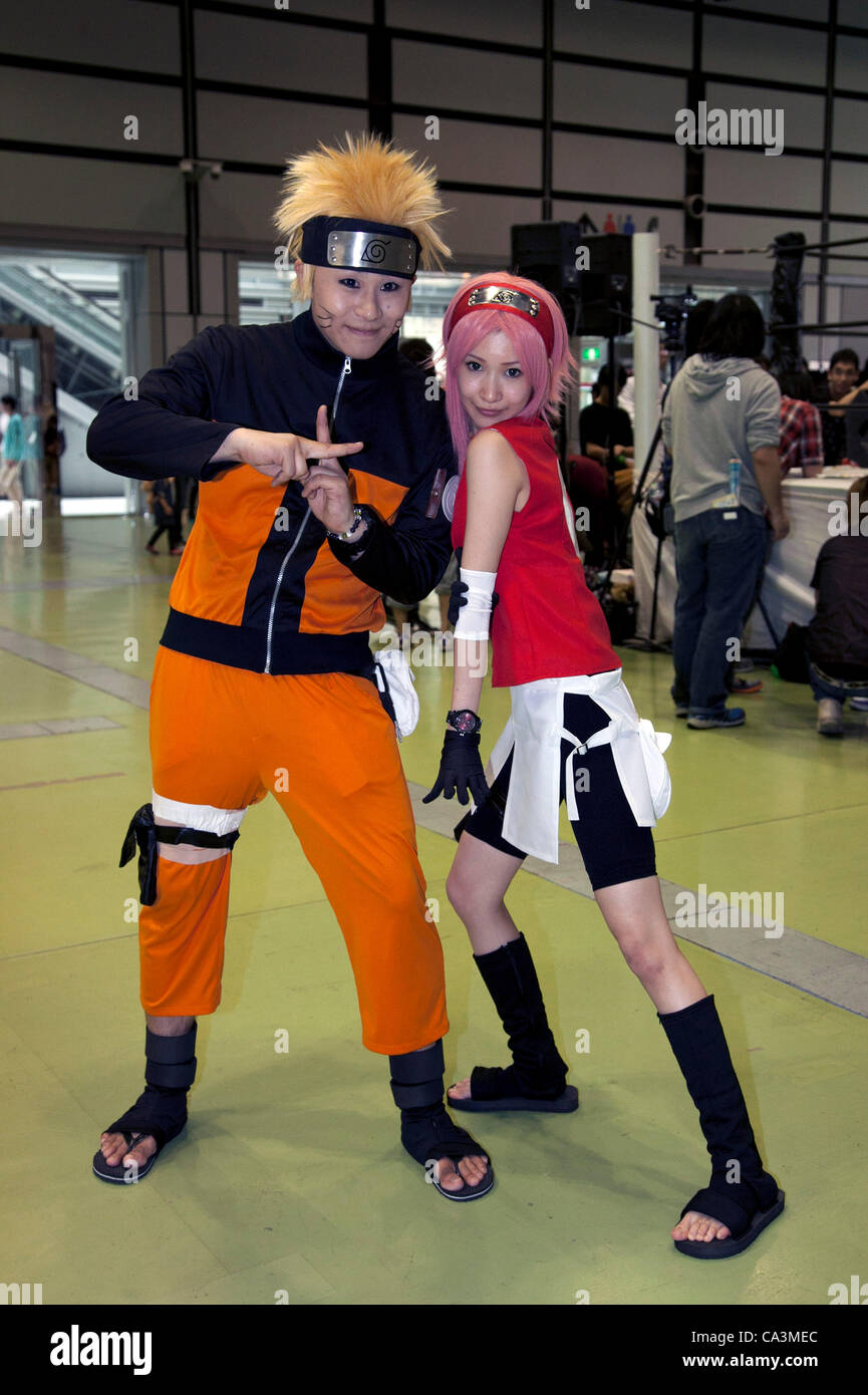 June 2 2012 Tokyo Japan L To R Men And Woman Dress As Naruto