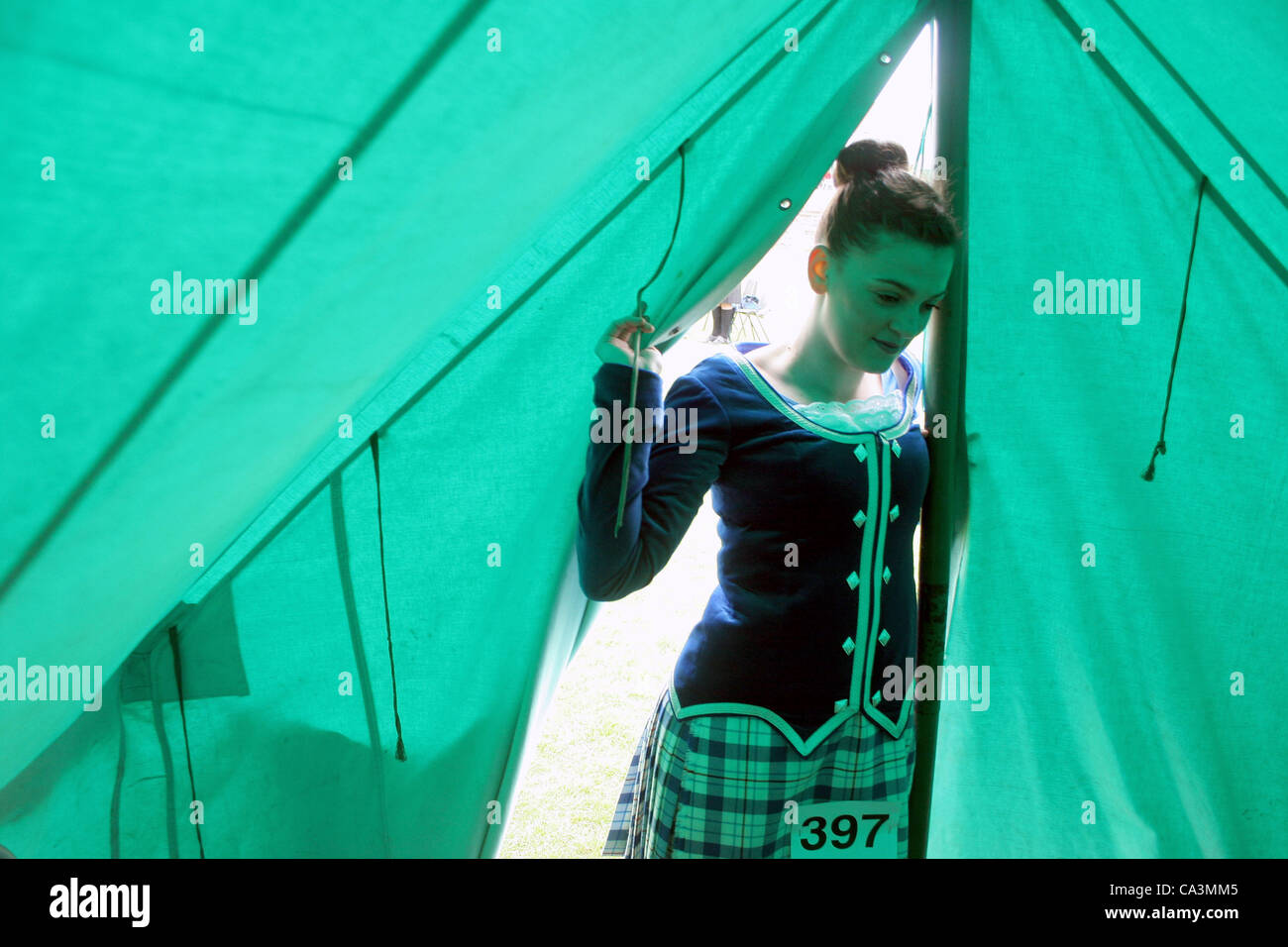Shotts Highland Games. Shotts Scotland UK  2/05/12. Hannah Blacklaw aged 14 from Forth in North Lanarkshire takes - Stock Image
