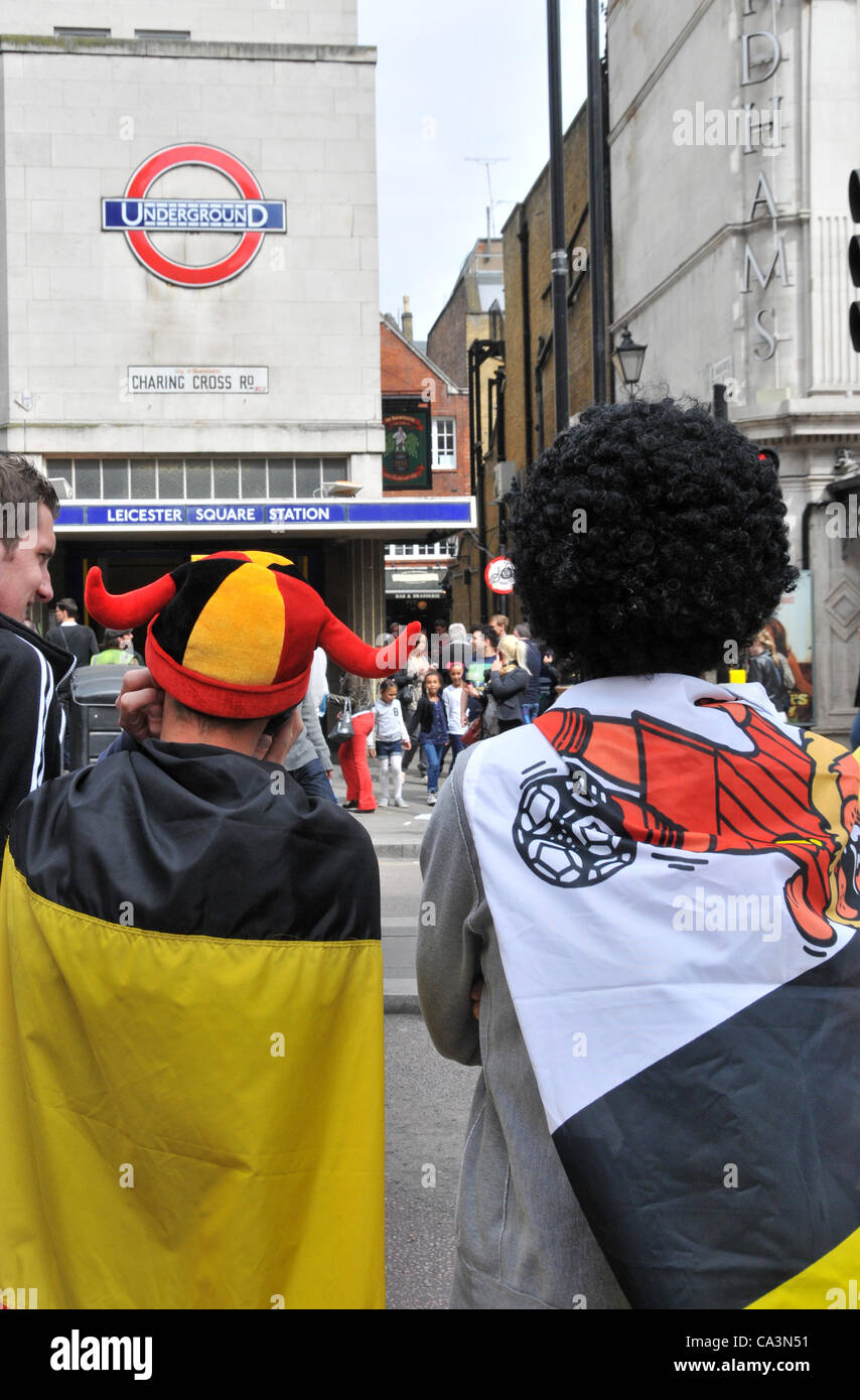2nd June 2012. Leicester Square, London, UK. Belgian football fans outside Leicester Square Tube station prior to - Stock Image