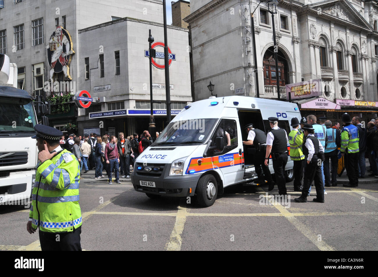 2nd June 2012. Leicester Square, London, UK. Tension mounts between Police and Belgian football fans outside Leicester - Stock Image