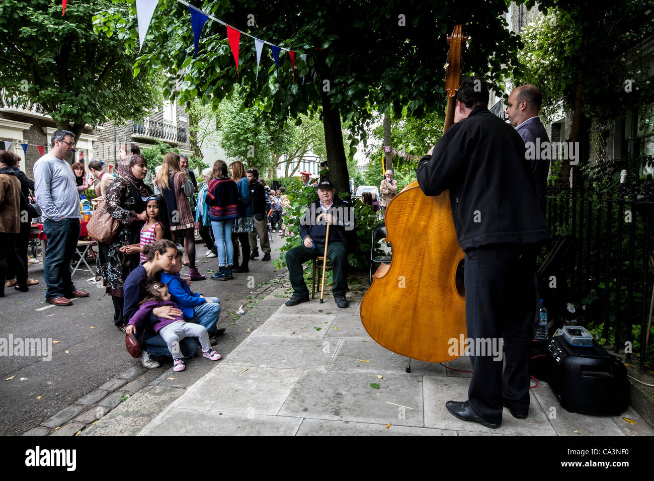 London, United Kingdom, 02/06/2012. People of all nationalities in  Kentish Town enjoying the Queen's Diamond - Stock Image