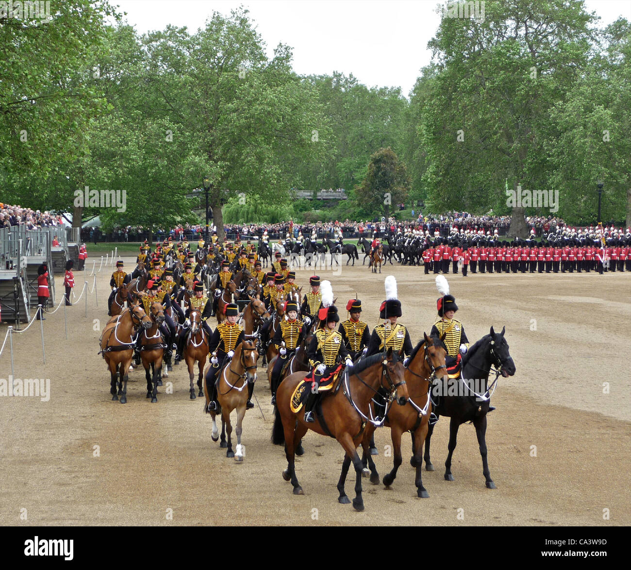 Trooping The Colour 2nd June 2012 - The Major General's Review at Horseguards Parade in London. These are the - Stock Image