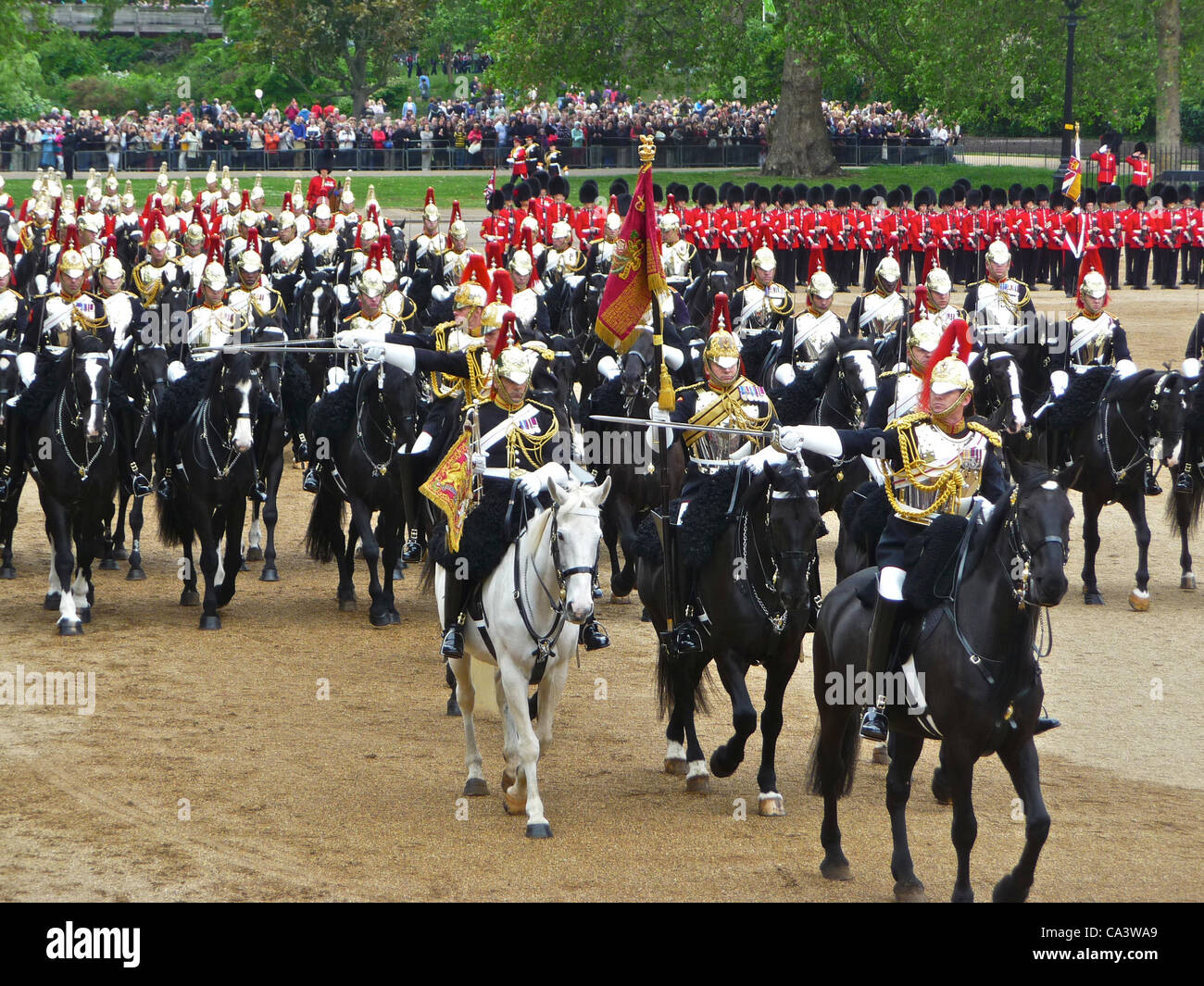 Trooping The Colour 2012 - The Major General's Review  2nd June 2012- these are the Blues and Royals of the - Stock Image