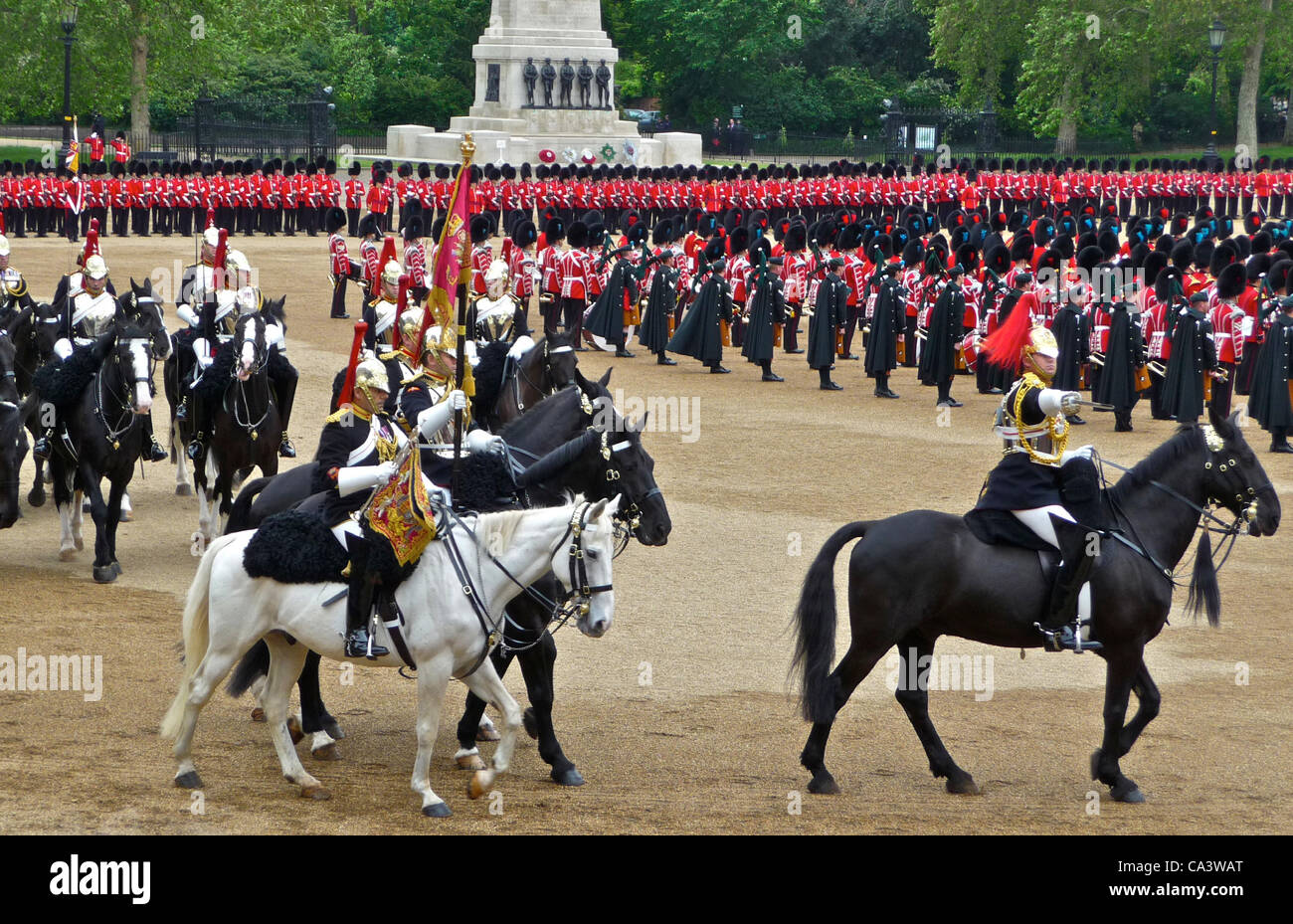 Trooping The Colour 2nd June 2012 - The Major General's Review, the mounted soldiers are the Blues and Royals - Stock Image
