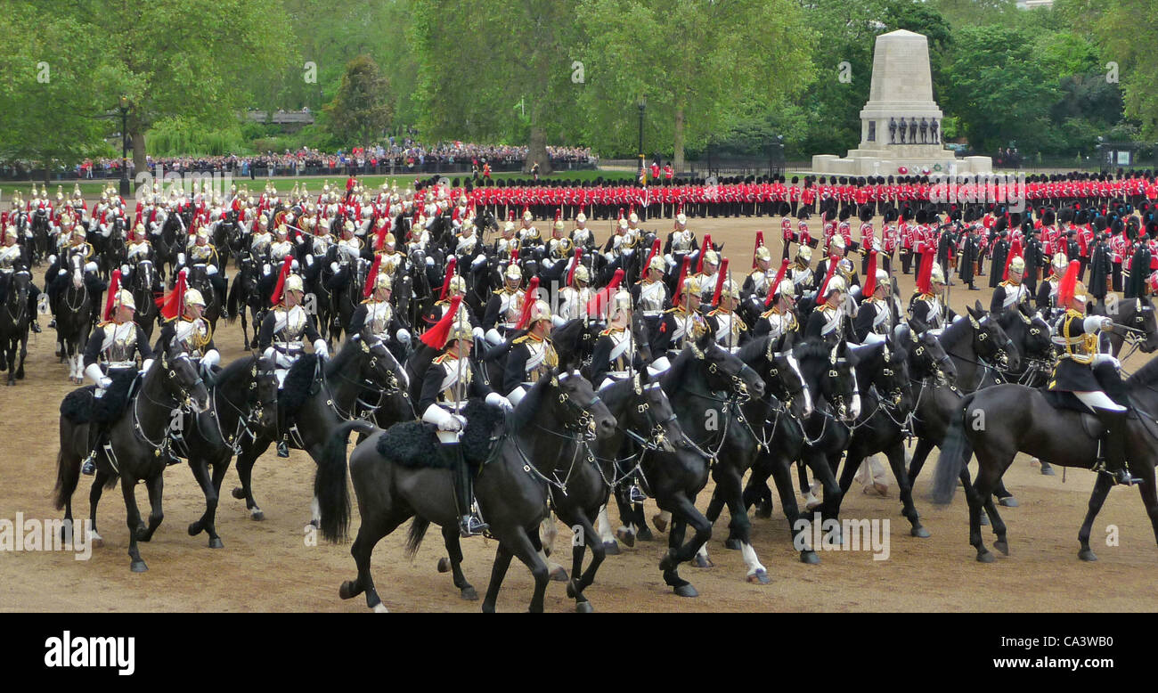 Trooping The Colour 2nd June 2012 - The Major General's Review, these  are the Blues and Royals of the Household - Stock Image