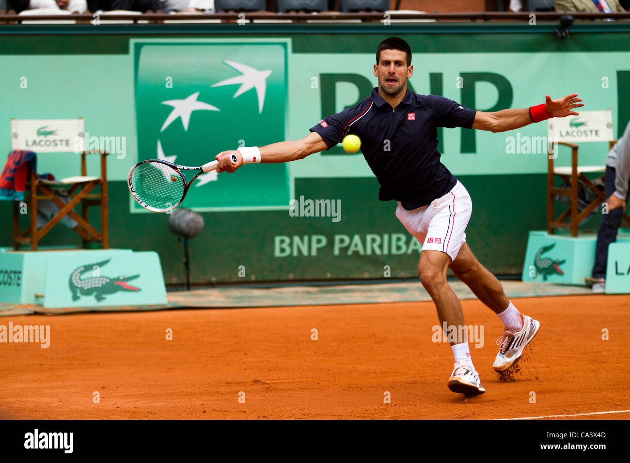 03.06.2012 Paris, France. Novak Djokovic in action against Andreas Seppi on day 8 of the French Open Tennis from - Stock Image