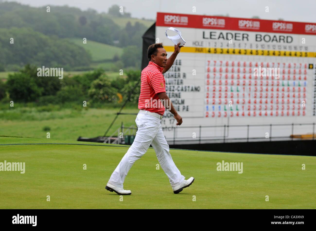 Image result for golf leader walking past leaderboard