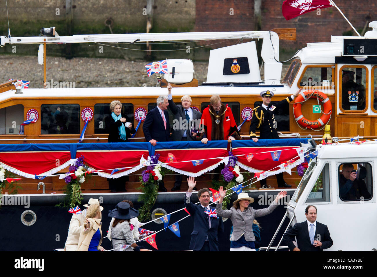 LONDON, UK, 3rd June 2012. Mayor of London Boris Johnson takes part in the diamond jubilee pageant. Stock Photo