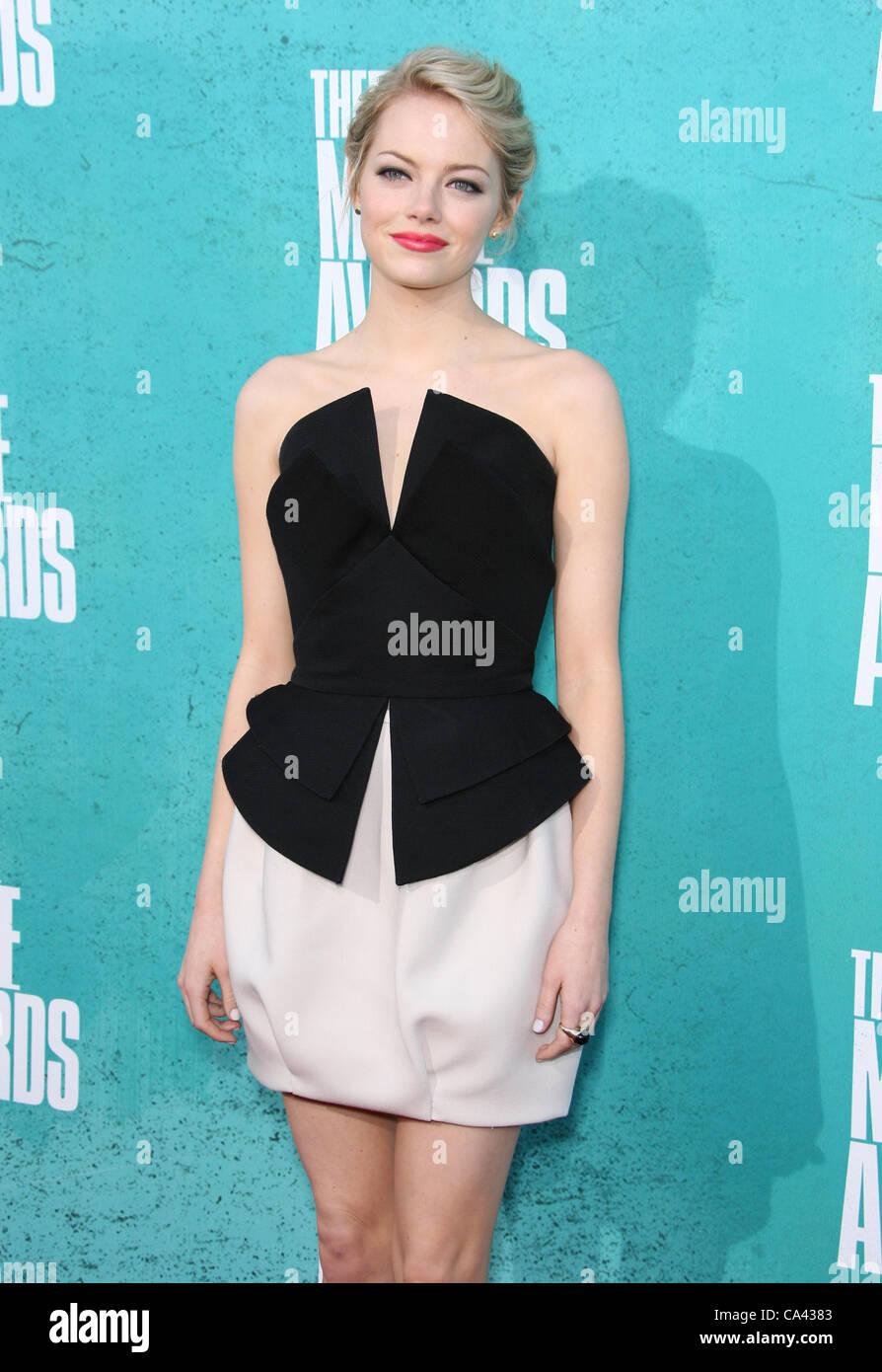 EMMA STONE THE MTV MOVIE AWARDS 2012. ARRIVALS LOS ANGELES CALIFORNIA USA 03 June 2012 - Stock Image