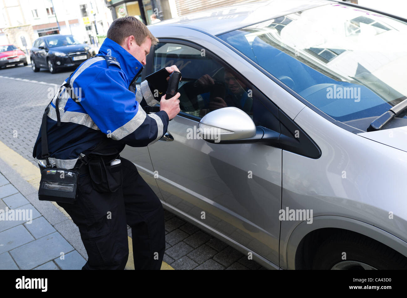Ceredigion County Council 'Parking Enforcement Officers' on the streets of Aberystwyth on the first day of their Stock Photo