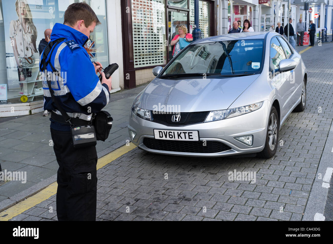 Ceredigion County Council 'Parking Enforcement Officers' on the streets of Aberystwyth on the first day - Stock Image
