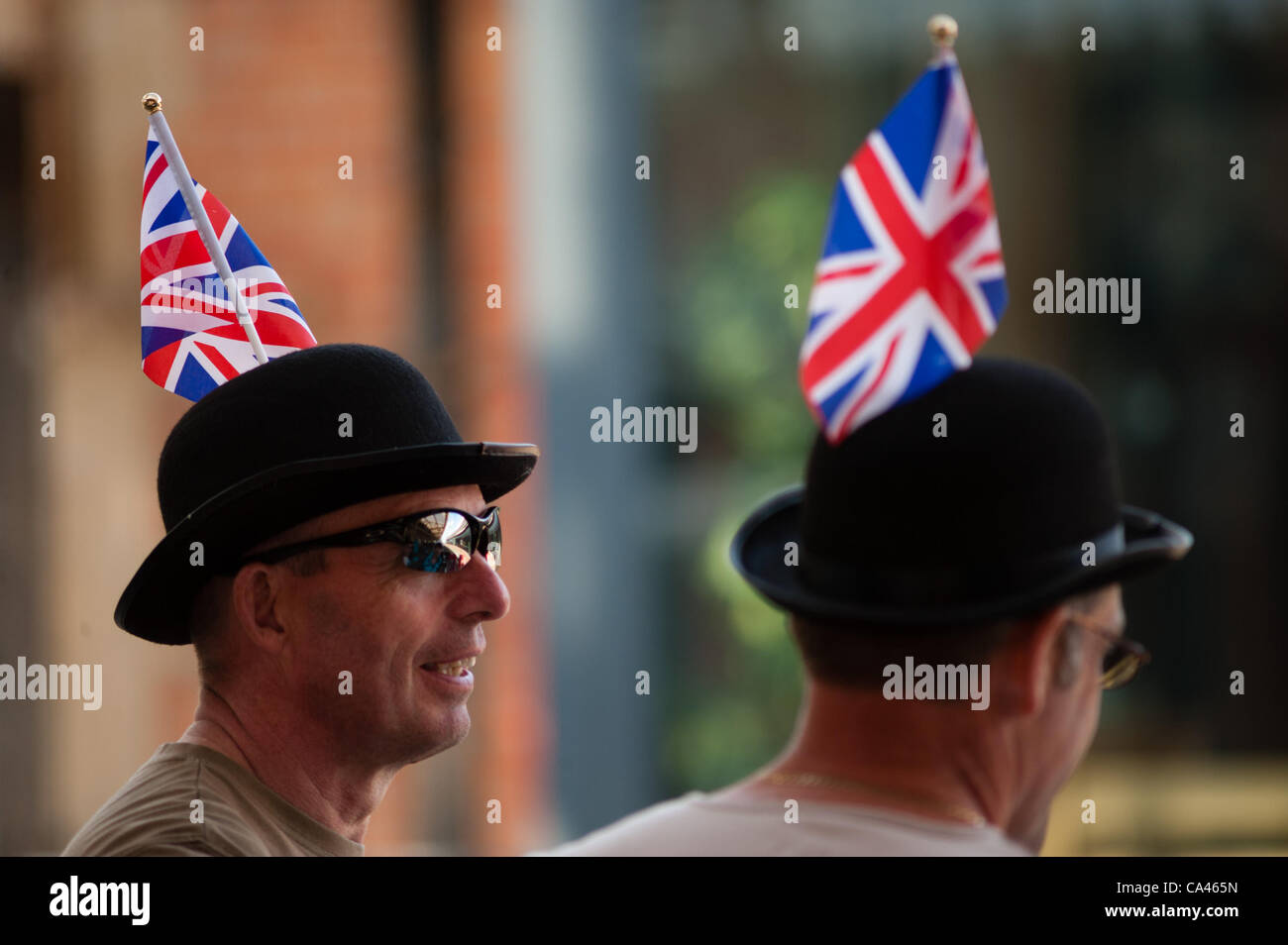 People celebrate the Queen's diamond jubilee at street parties in Aberystwyth Wales UK. June 4 2012 - Stock Image
