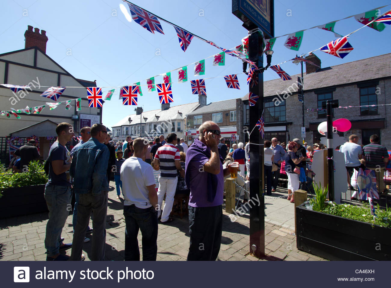 June 4th 2012, Rhuddlan, north Wales. A street party to celebrate the Queen's Diamond Jubilee goes ahead There - Stock Image