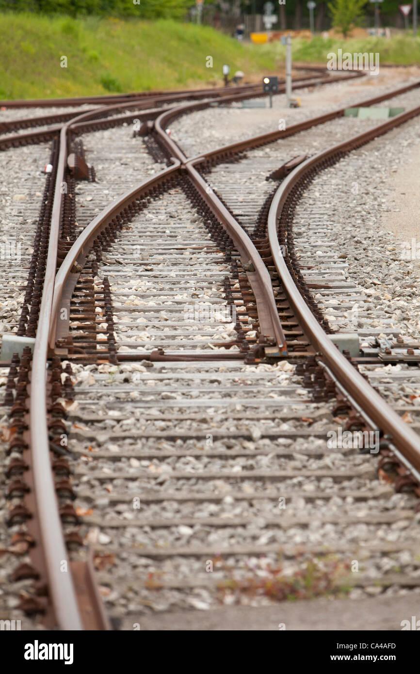 rail, railway, leepers, metal, transportation, train, lines, transport, voyager - Stock Image