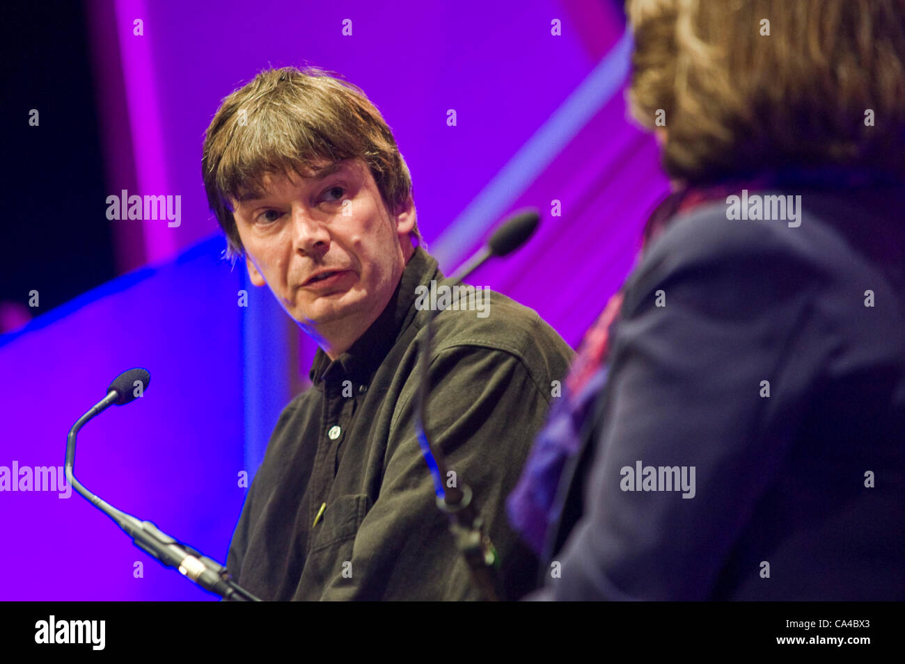 Ian Rankin, Scottish crime writer, speaking at The Telegraph Hay Festival 2012, Hay-on-Wye, Powys, Wales, UK - Stock Image