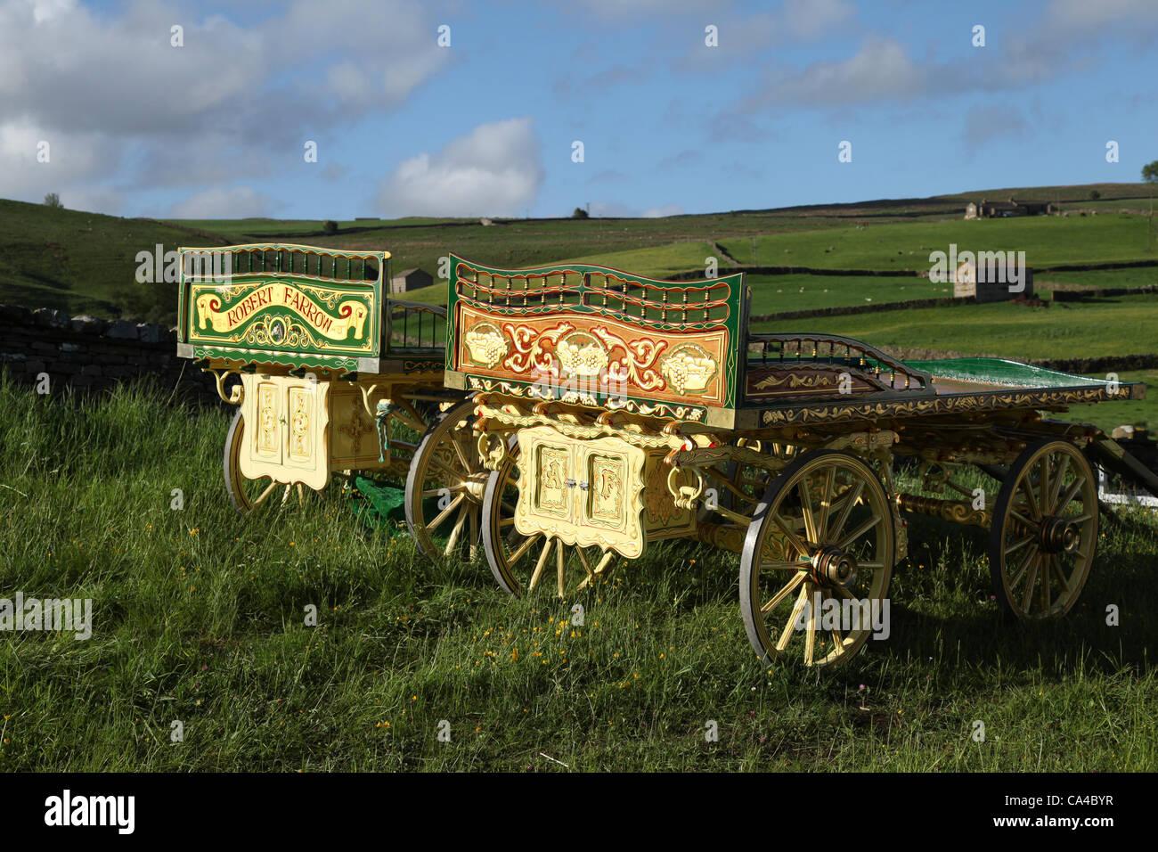 Monday 4th June 2012: Lambert & Baker Drays of the Travelling Community, horse and cart camping at Bainbridge, in Stock Photo