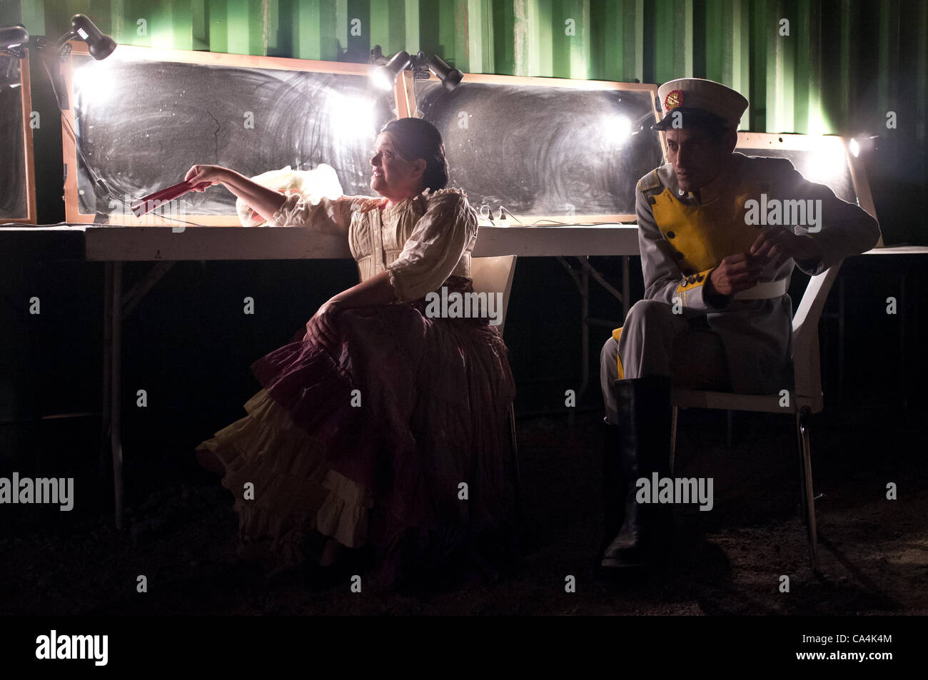 Israeli Opera cast of Carmen, by Georges Bizet, prepares backstage for full dress rehearsal, just one evening before - Stock Image