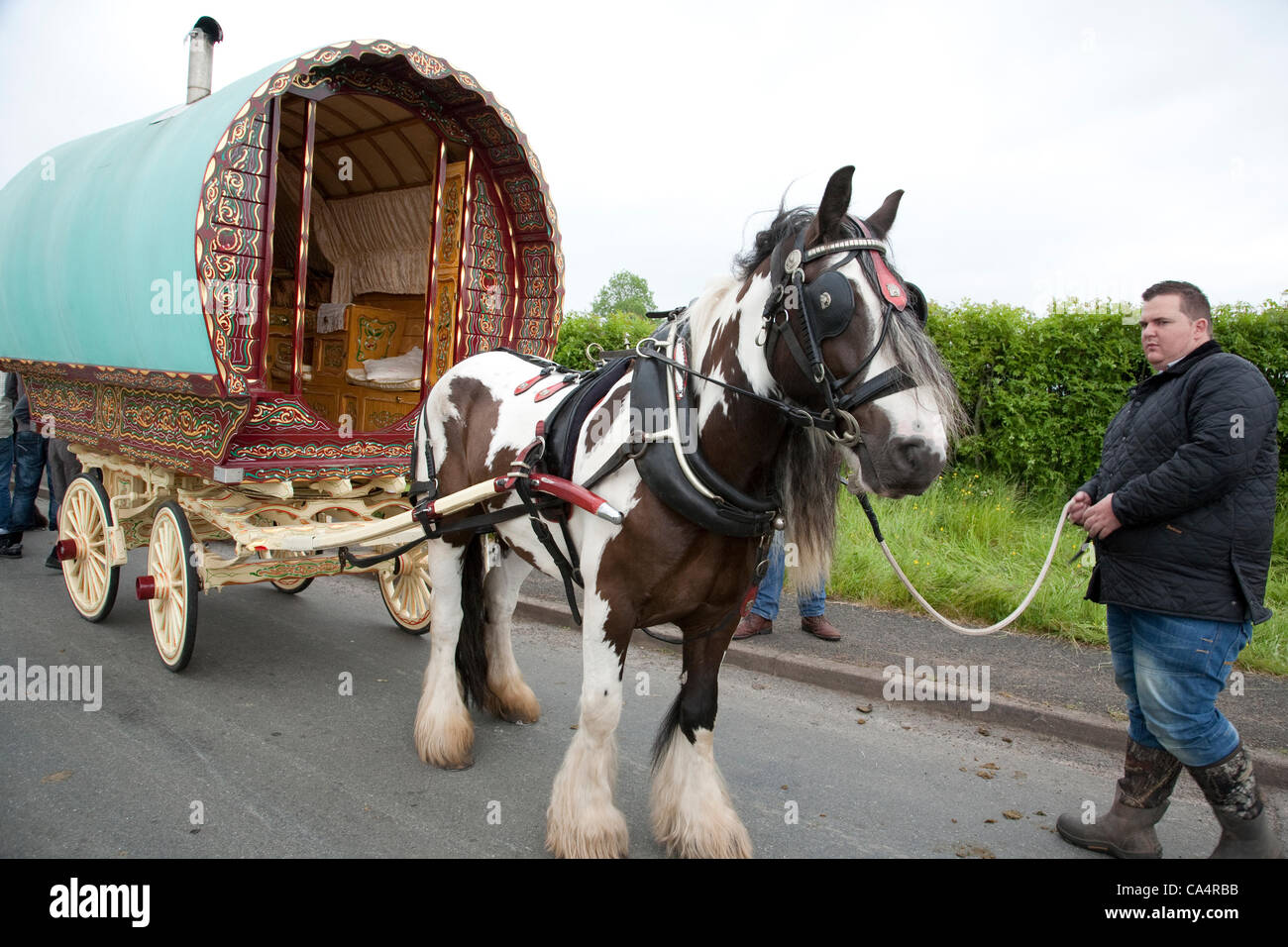 Thursday 7th June 2012 at Appleby, Cumbria, England, UK. Horse drawn bow-top wagons arrive from all over the UK Stock Photo