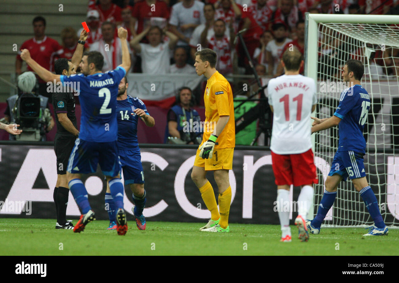 08.06.2012.  Warsaw, Poland. EURO 2012, FOOTBALL EUROPEAN CHAMPIONSHIP, Poland versus Greece.  The penalty is given - Stock Image