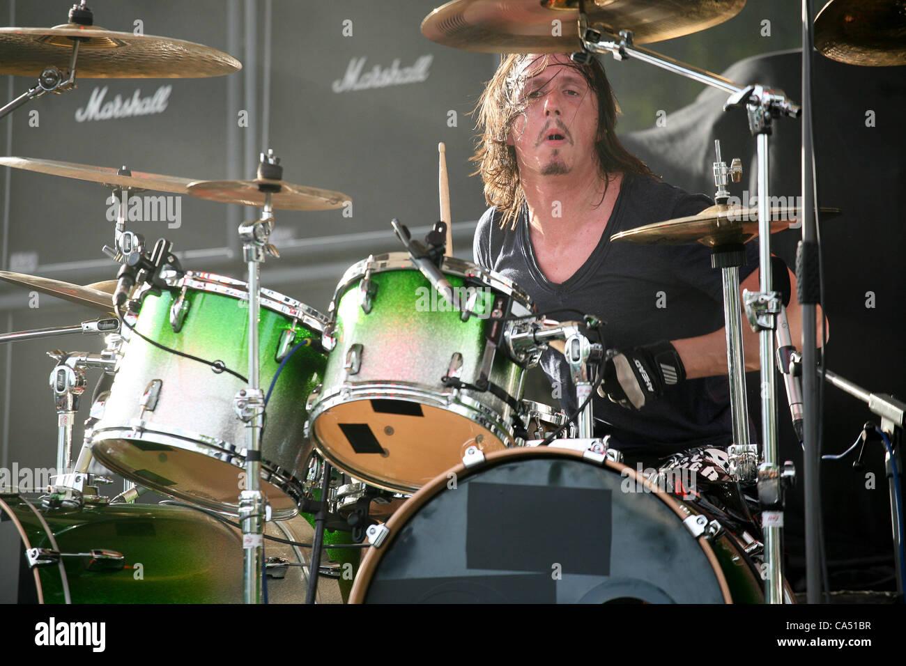ZAGREB, CROATIA, June 8 2012. Mario Duplantier (drums) of the band Gojira performing at Rokaj (trans: Rock!) festival - Stock Image
