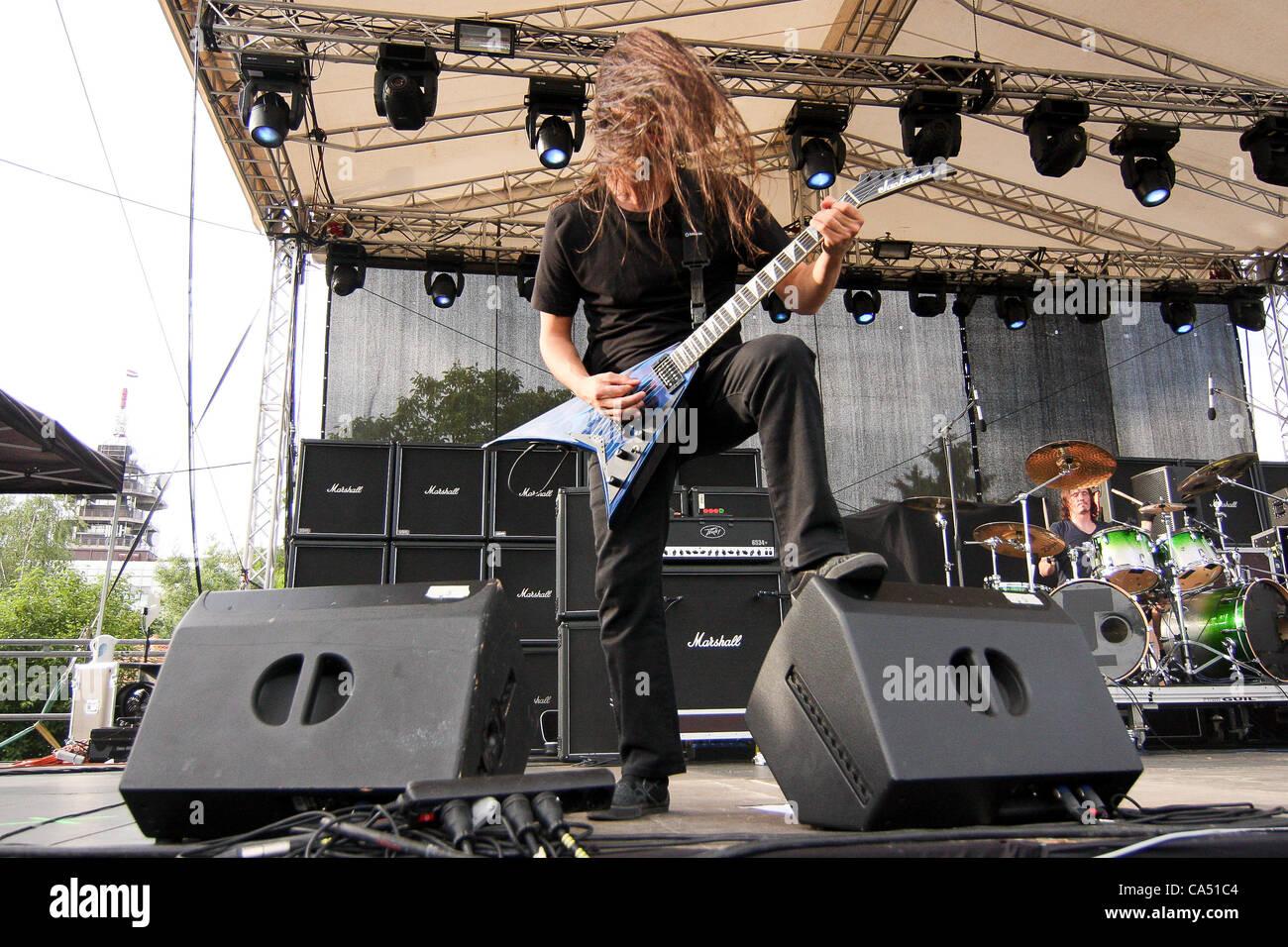 ZAGREB, CROATIA, June 8 2012. Christian Andreu (guitar) of the band Gojira performing at Rokaj (trans: Rock!) festival - Stock Image