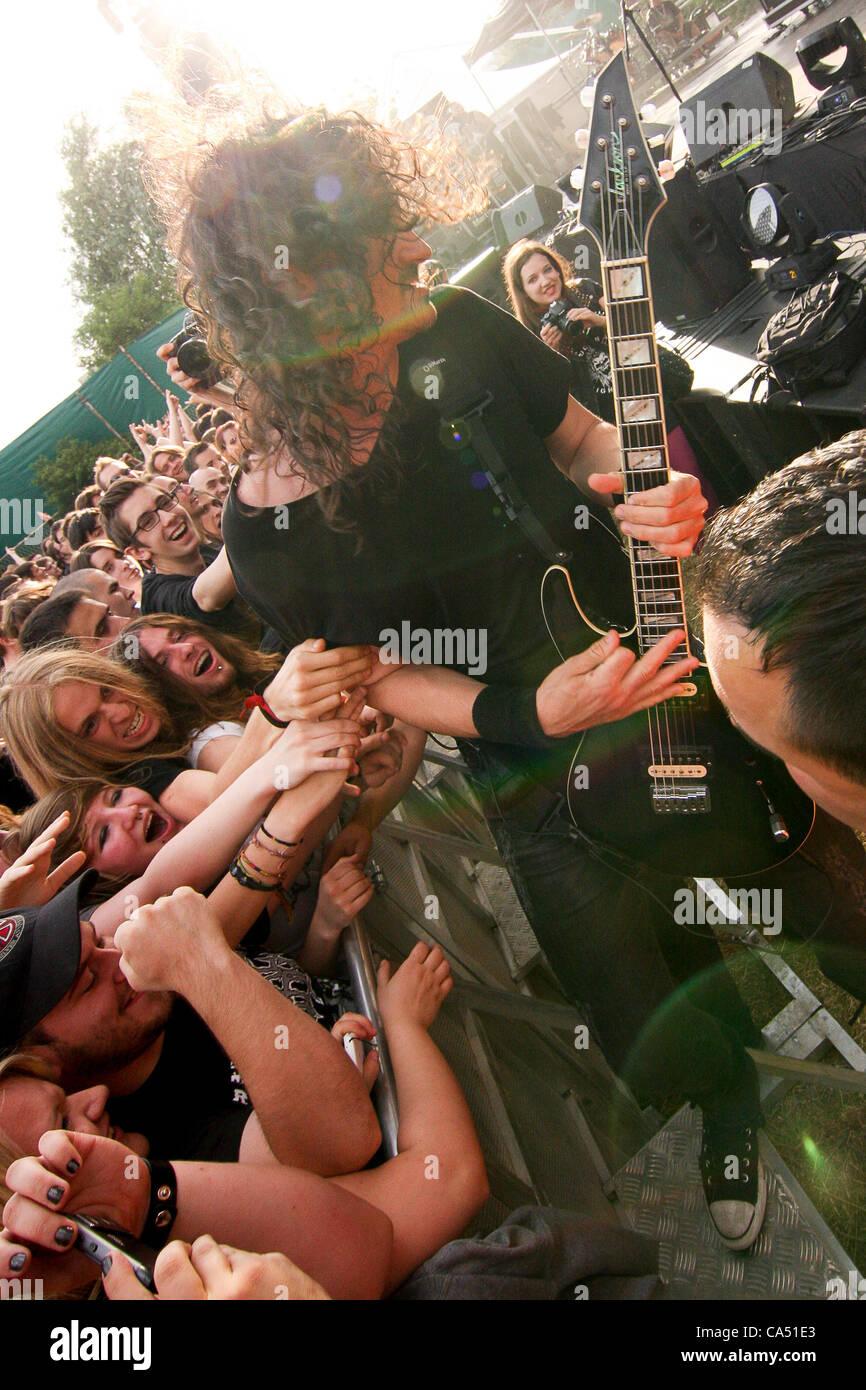 ZAGREB, CROATIA, June 8 2012. Joe Duplantier (guitar, vocals) of the band Gojira performing at Rokaj (trans: Rock!) - Stock Image