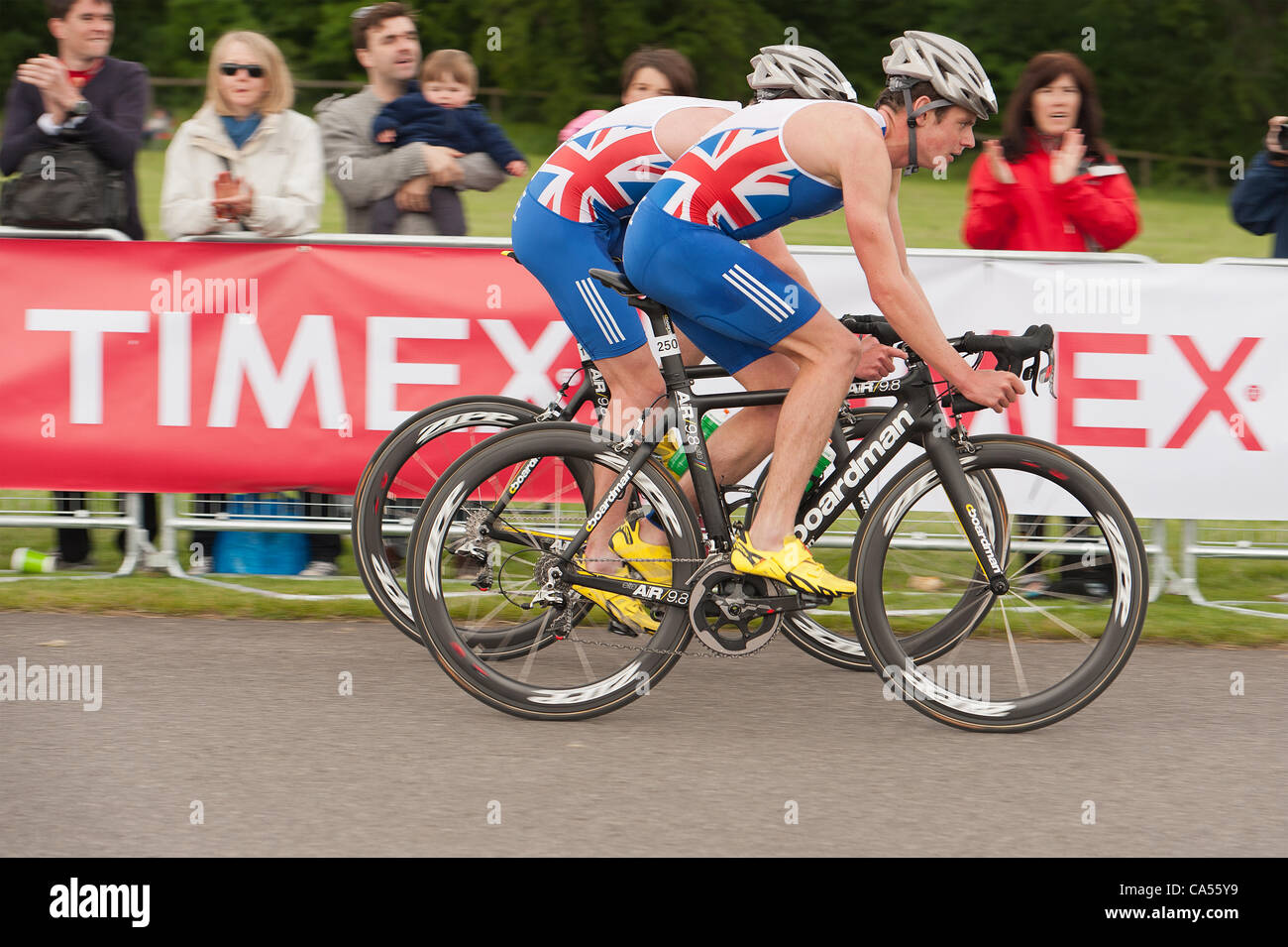 Saturday 9th June Blenheim Palace, UK. Brothers Alistair and Jonny (Jonathan) Brownlee ahead of the field in the - Stock Image