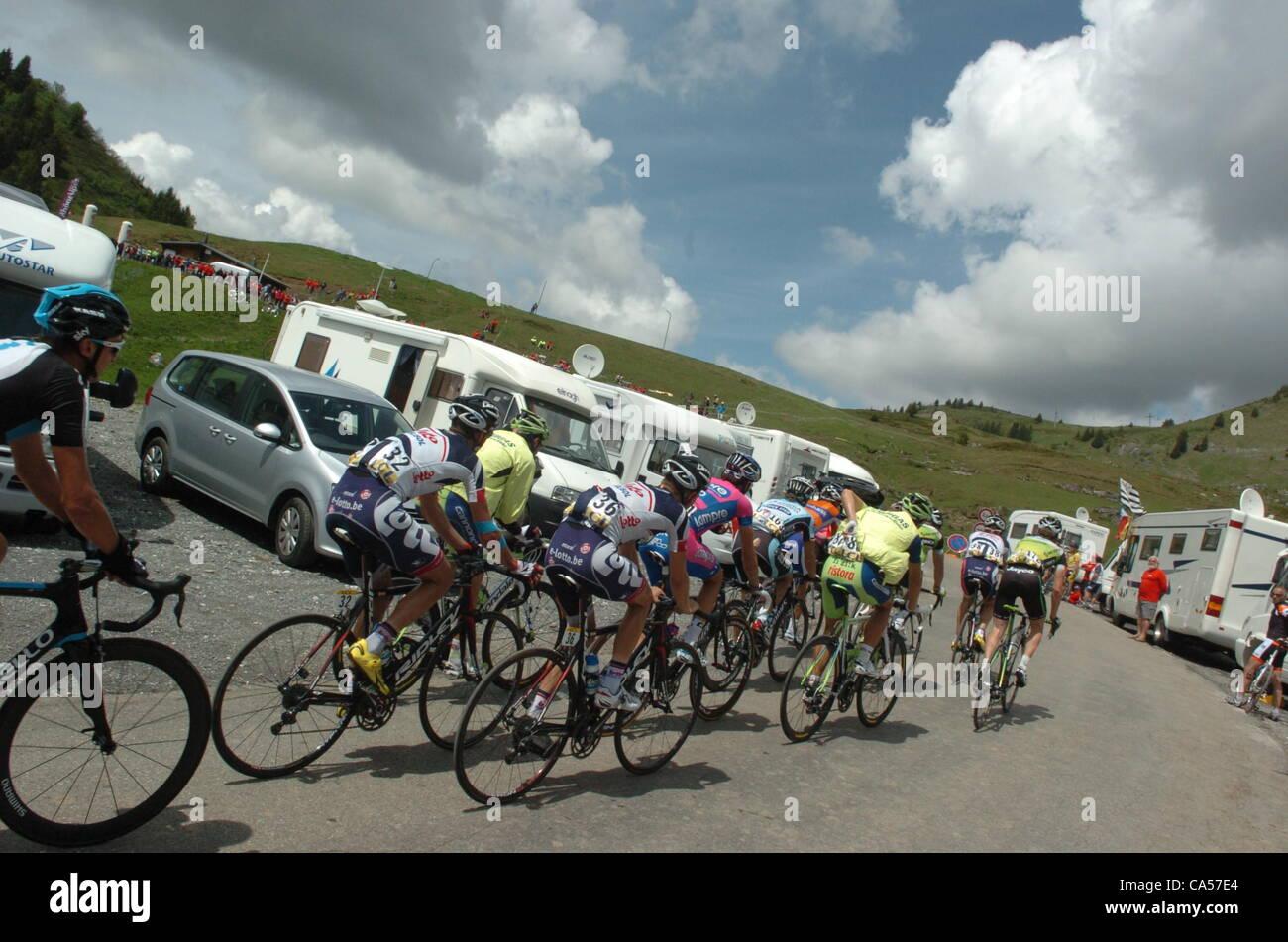 09.06.2012.  Criterium du Dauphine Libere, stage 06 Saint Alban Leysse - Morzine, Lotto - Belisol 2012, Joux Plane Stock Photo