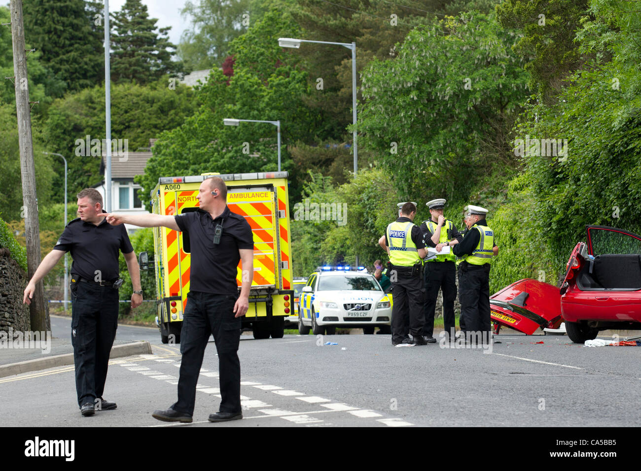 Windermere, Cumbria. 10 June, 2012. Road close due to fatal   accident -one 68 year old  woman passenger died at - Stock Image