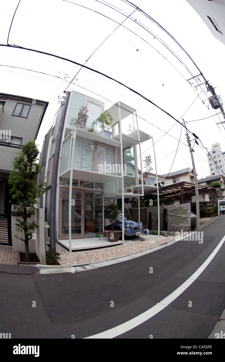"June 11, 2012, Tokyo, Japan - The transparent house ""House NA"" designed by Sou Fujimoto is located in a residential Stock Photo"