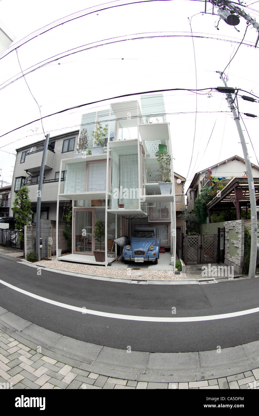 June 11, 2012, Tokyo, Japan - The transparent house 'House NA' designed by Sou Fujimoto is located in a - Stock Image