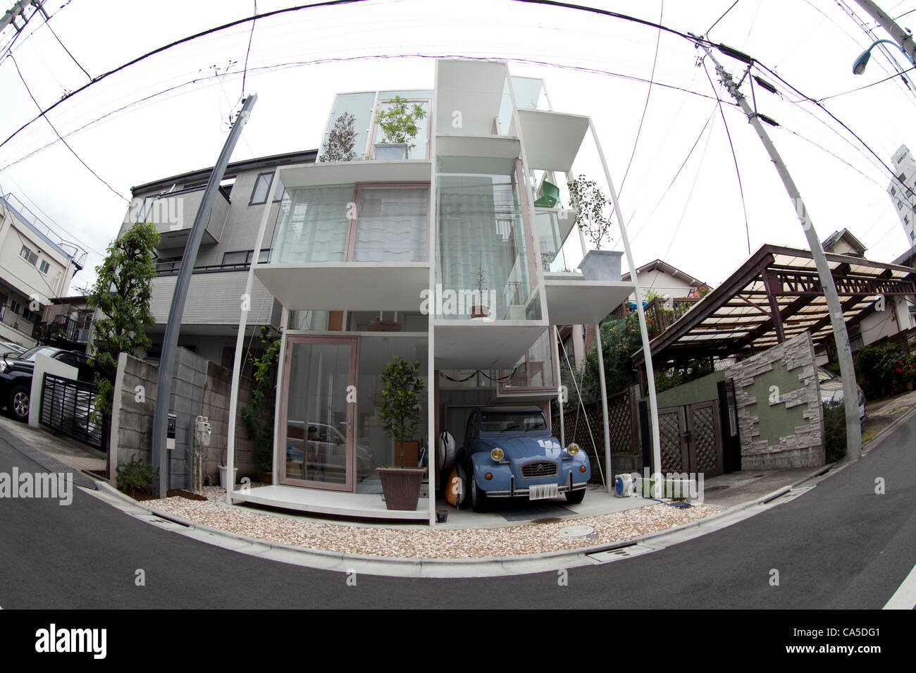 11.06.2012 Tokyo, Japan. The transparent house 'House NA' designed by Sou Fujimoto is located in a residential - Stock Image