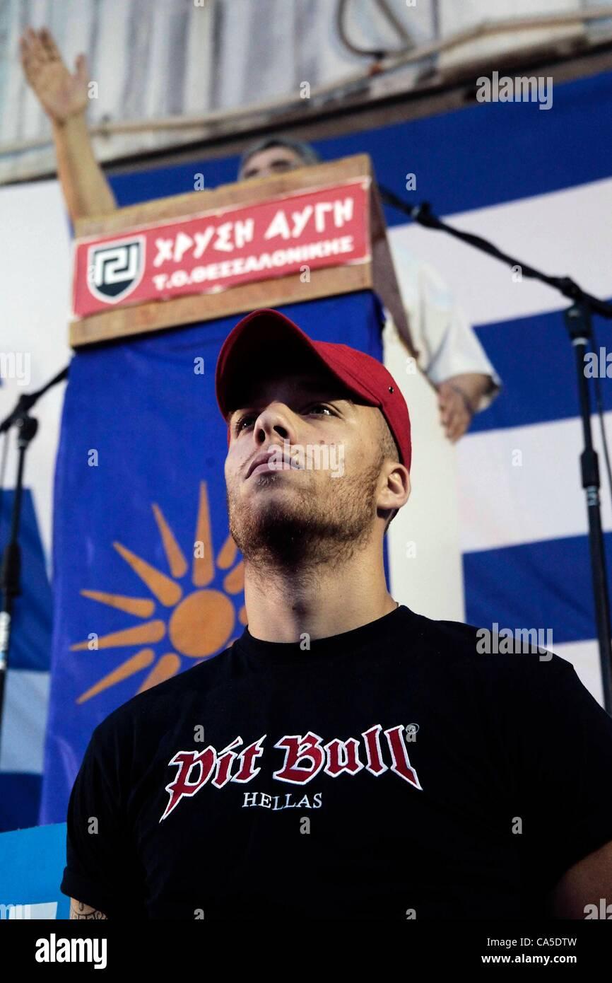 June 10, 2012. Thessalonika, Greece. Nikolaos Michaloliakos the leader of far right party Golden Dawn (Chrysi Avgi), Stock Photo