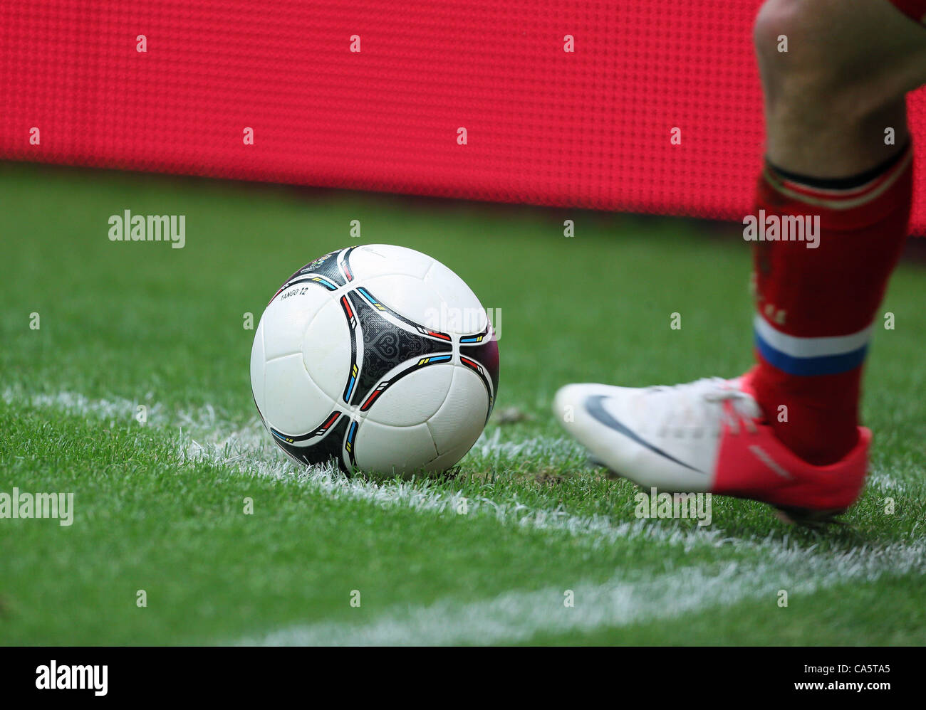 OFFICIAL MATCH BALL POLAND V RUSSIA NATIONAL STADIUM WARSAW POLAND 12 June 2012 - Stock Image