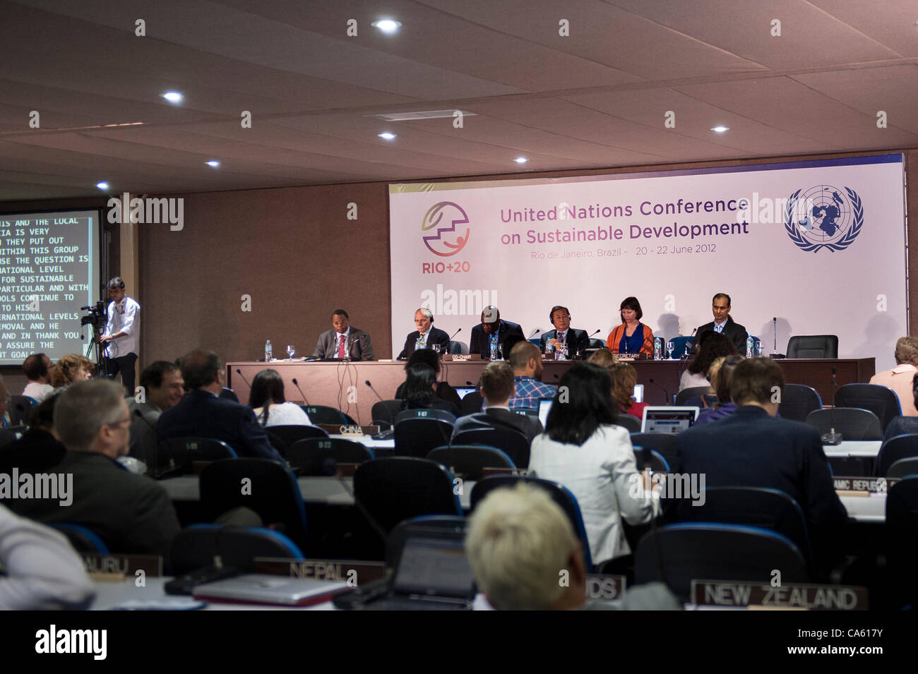A multinational panel sits during one of the 3rd Preparatory Committee meetings. United Nations Conference on Sustainable Stock Photo