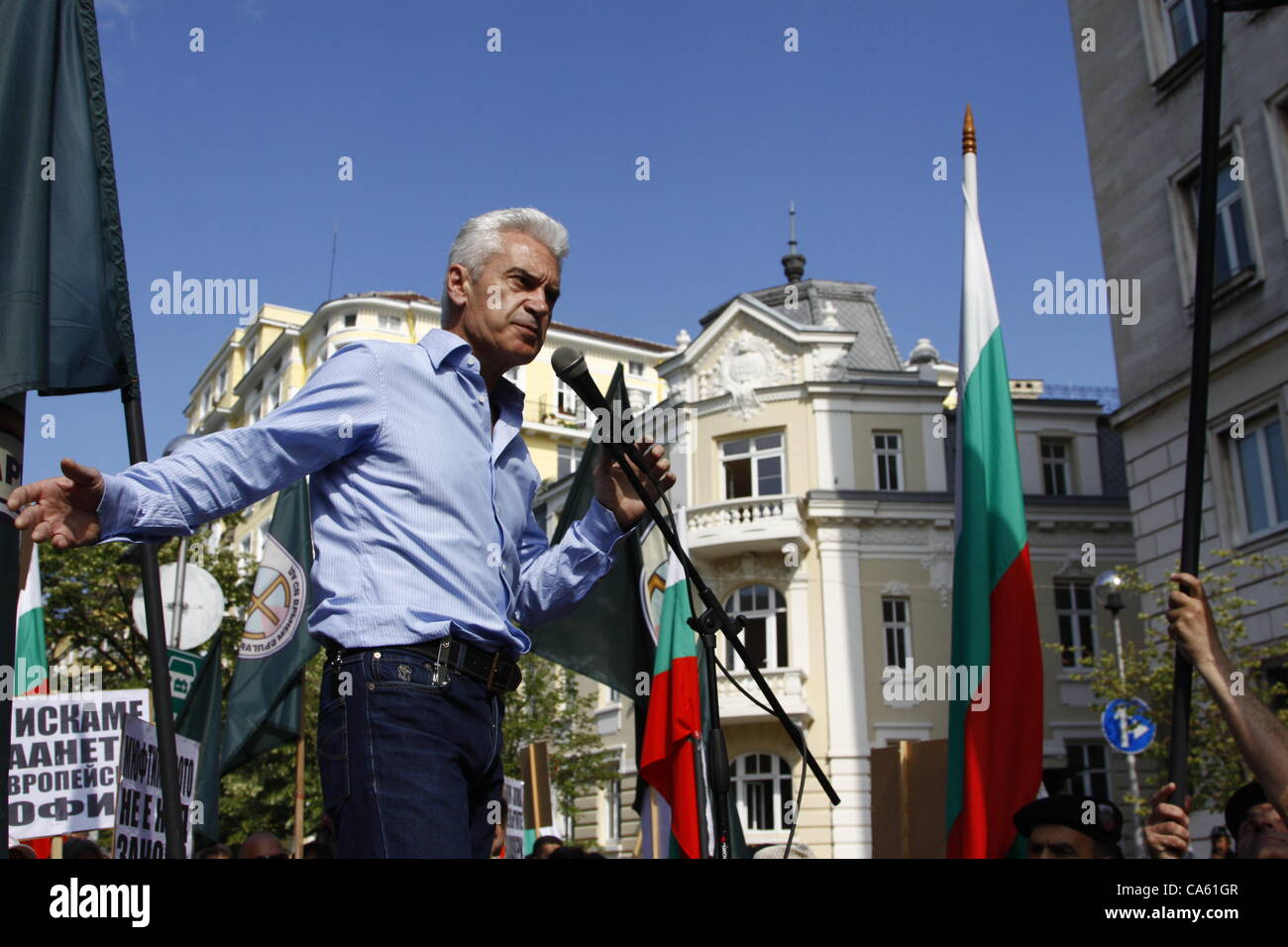 The leader of Bulgaria's ultra-nationalist party ATAKA (Attack) during his speech in front of the Sofia municipality, - Stock Image