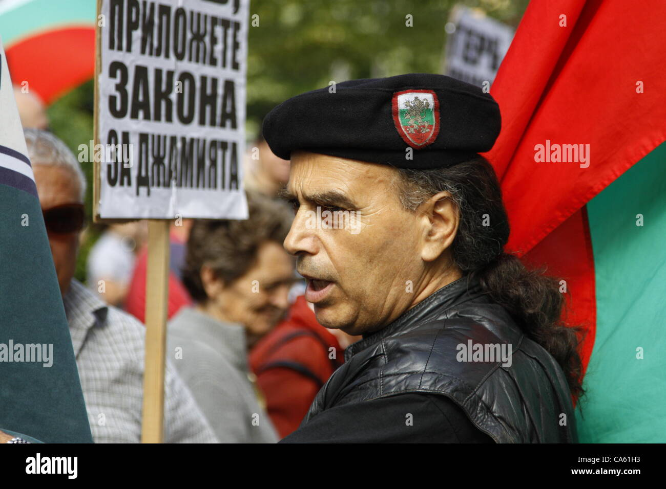 Member of the Bulgarian ultra-nationalist party ATAKA (Attack) in his 'party uniform'. The hard core of - Stock Image