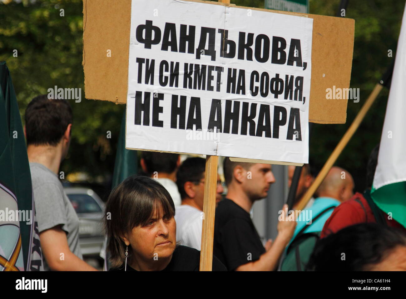 Demonstrator showing a sign 'Fandakova, you are the mayor of Sofia not Ankara' during the anti-islamic rally - Stock Image