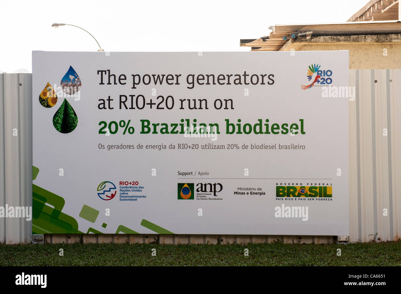 A sign announces that the power generators at the conference run on 20% Brazilian biodiesel. United Nations Conference Stock Photo