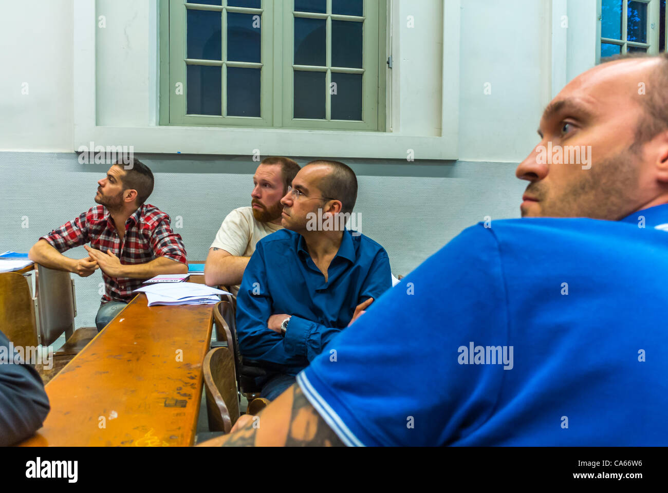 Act Up-Paris, Public Meeting on PrEP IPERGAY Pre-Exposure Prophylaxis AIDS Prevention, Paris, France - Stock Image