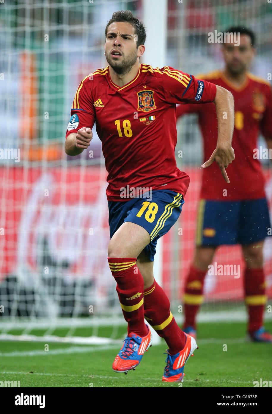 JORDI ALBA SPAIN ARENA GDANSK GDANSK POLAND 14 June 2012 - Stock Image
