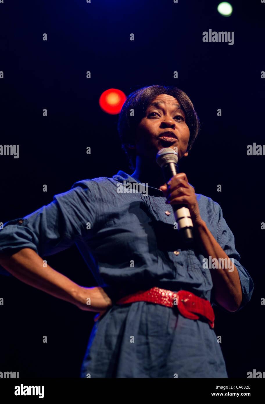 London, UK. 13 June, 2012. Valerie Bloom performing at POEM 2012 Poetry Olympics, Queen Elizabeth Hall - Stock Image