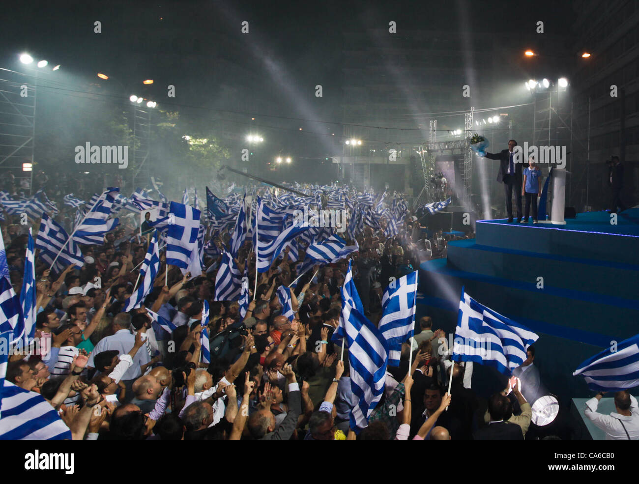 June 16, 2012 - Athens, Greece - New Democracy party leader, Antonis Samaras,waves to his supporters at the end Stock Photo