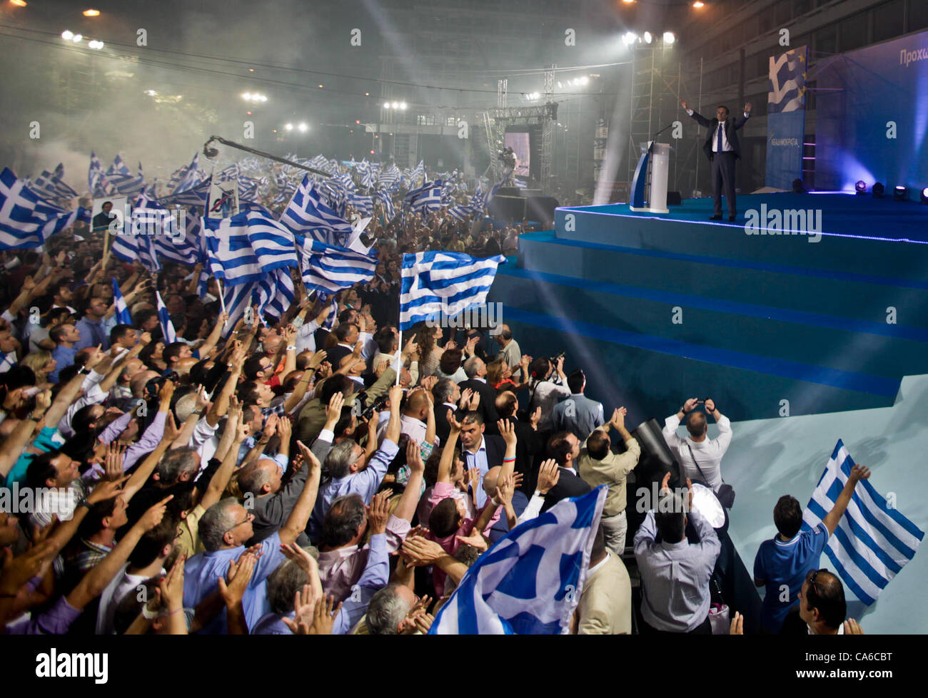 June 15, 2012 - Athens, Greece - Conservative New Democracy leader ANTONIS SAMARAS delivers a speech in front of Stock Photo